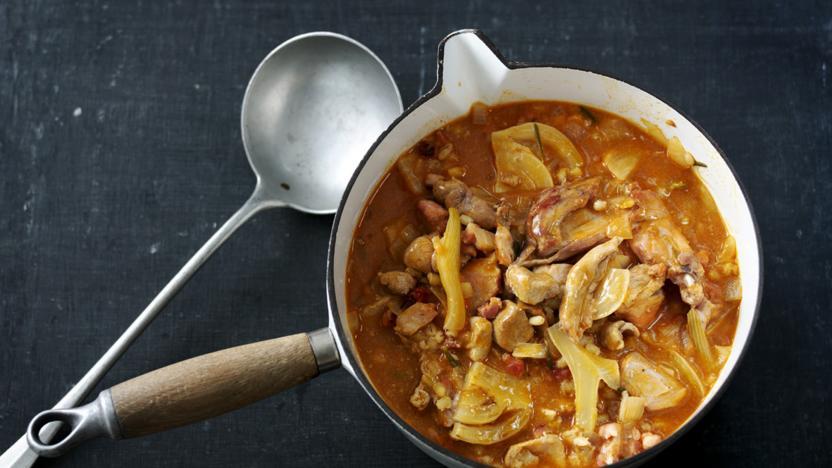 Rabbit and pearl barley stew