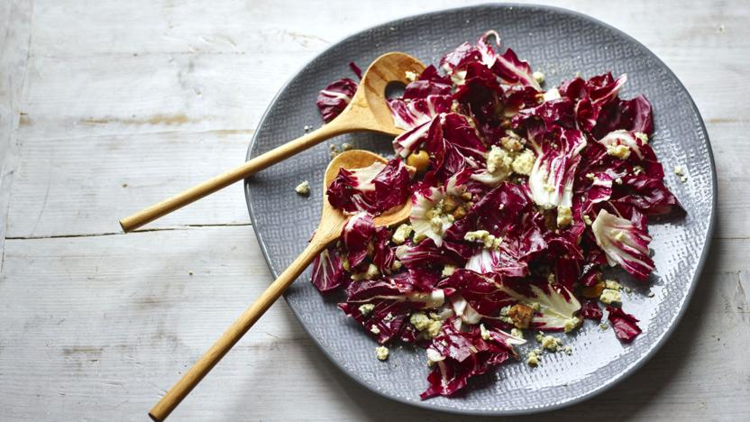Radicchio, chestnut and blue cheese salad