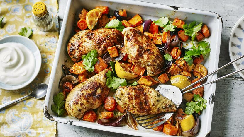 Ras El Hanout Chicken Traybake Recipe Bbc Food