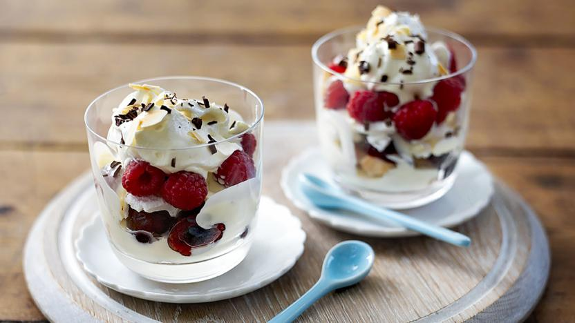 Raspberry and cherries jubilee trifle