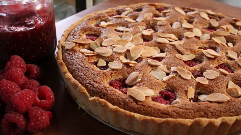 Raspberry, peach and almond tart