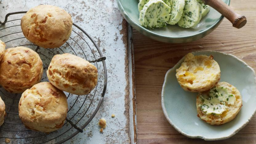 Cheese scones with chive butter