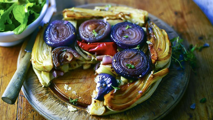 Red onion, fennel and chilli tarte tatin