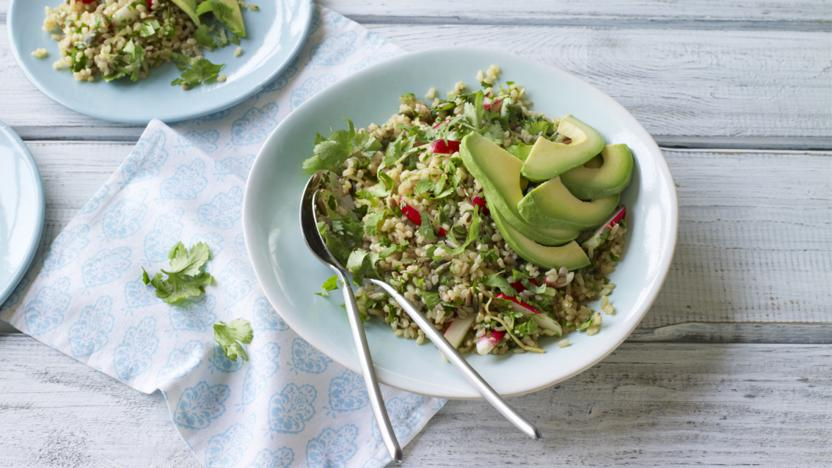 Rice bowl with ginger, radish and avocado