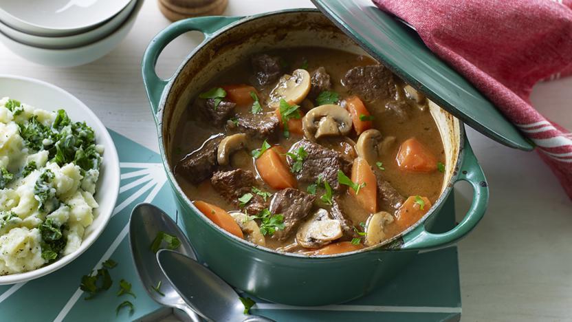 Healthy beef and mushroom casserole