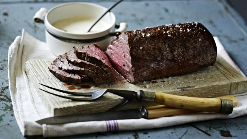 roast fillet of beef with roasted garlic and mustard cream recipe bbc food. Black Bedroom Furniture Sets. Home Design Ideas