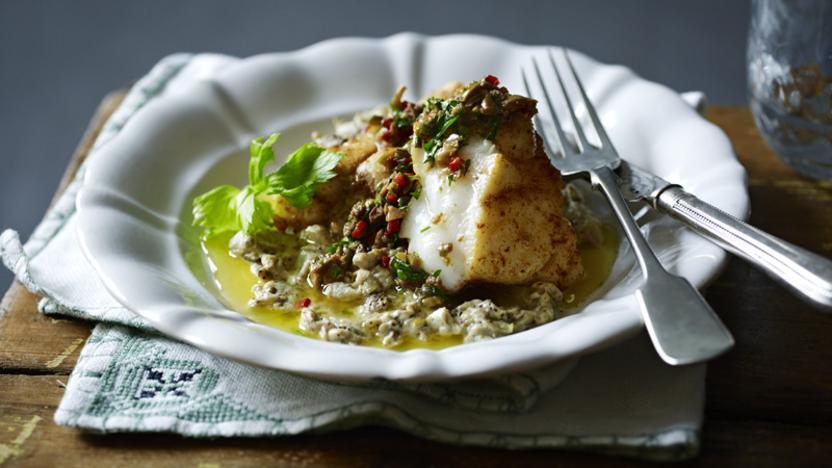 Roast monkfish with cumin and coriander