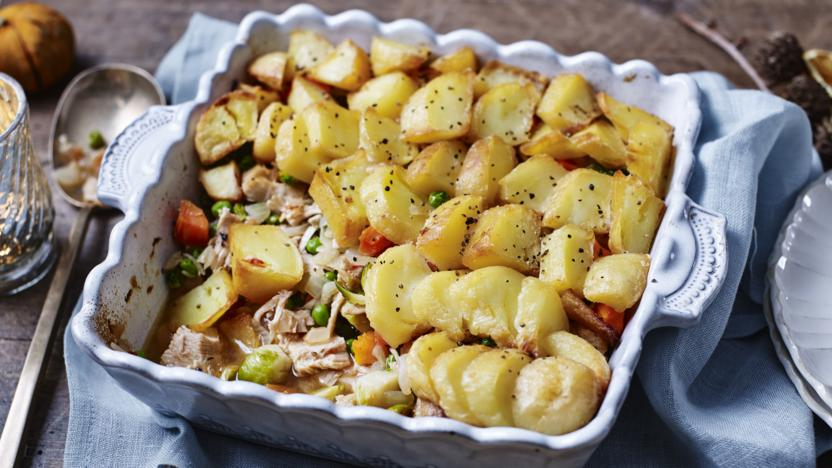 Leftover turkey and potato pie