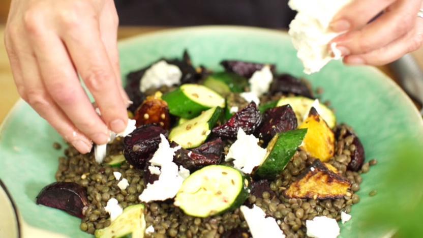 Roast vegetable and lentil salad
