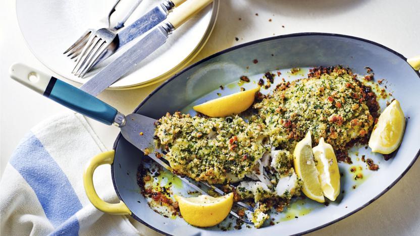 Roast cod with a lemon, garlic and parsley crust