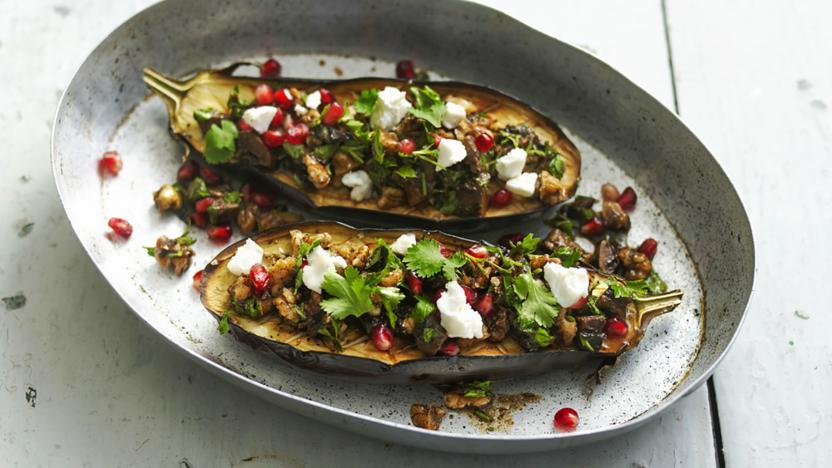 Roasted aubergine with walnut salsa