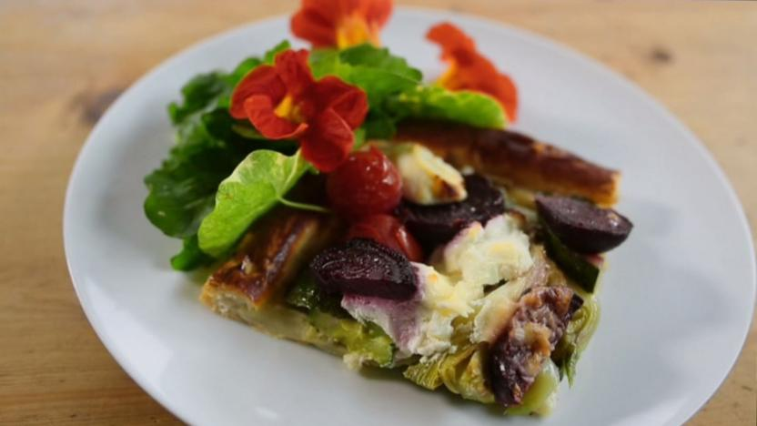Roasted vegetable and goats' cheese tart