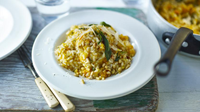 Roasted butternut squash and sage risotto with pinenuts