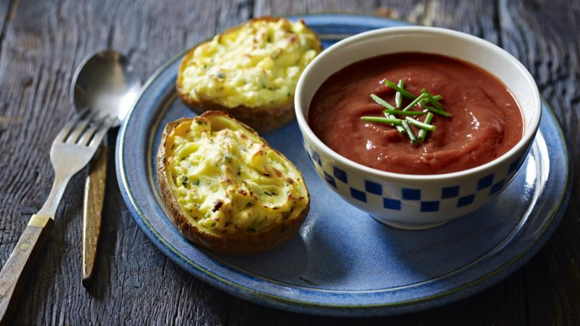 Roasted tomato soup with double baked cheese potatoes recipe bbc food roasted tomato soup with double baked cheese potatoes forumfinder Image collections