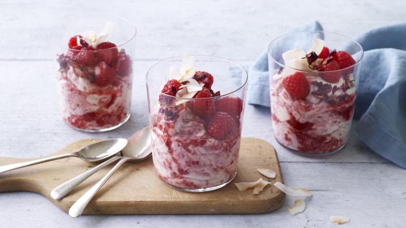 Rose, raspberry and coconut fool