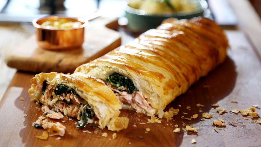 Salmon Pie With Spinach And Hollandaise Recipe Bbc Food