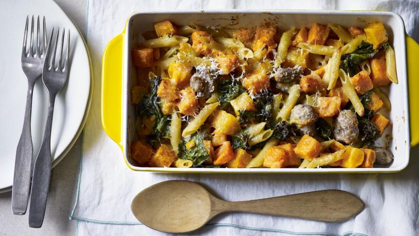 Sausage, squash and kale pasta bake