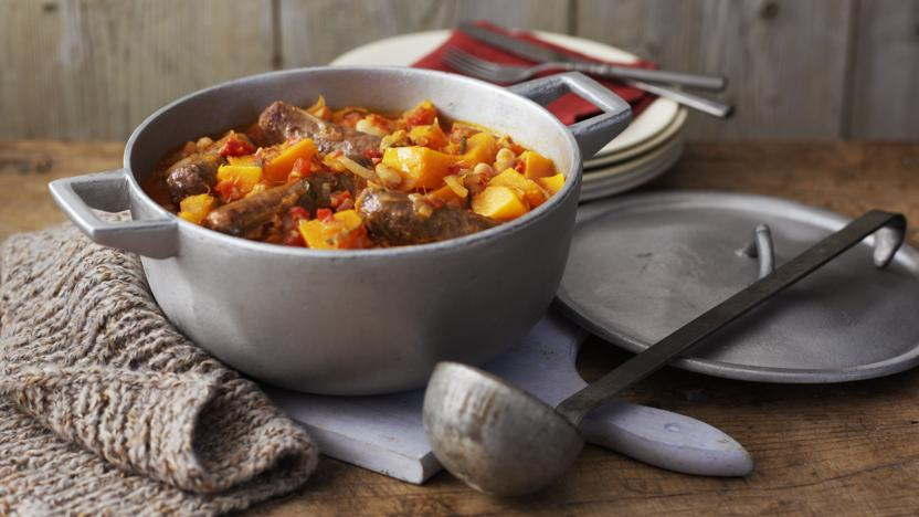 Sausage, pumpkin and sage casserole