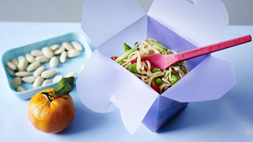 Seedy sesame noodles with peas and broad beans