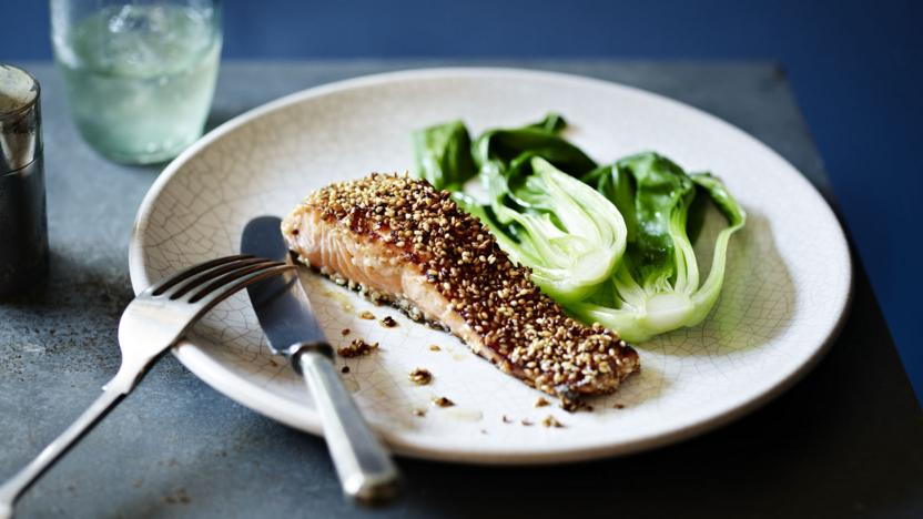 Sesame seed salmon with mirin