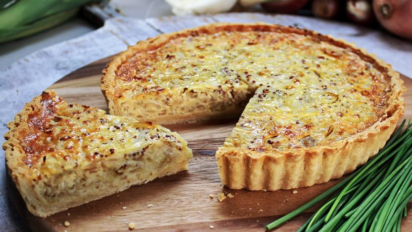 Shallot, onion and chive tart