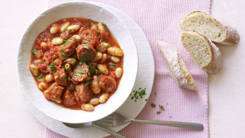 Simple chorizo and bean stew recipe bbc food simple chorizo and bean stew forumfinder Image collections