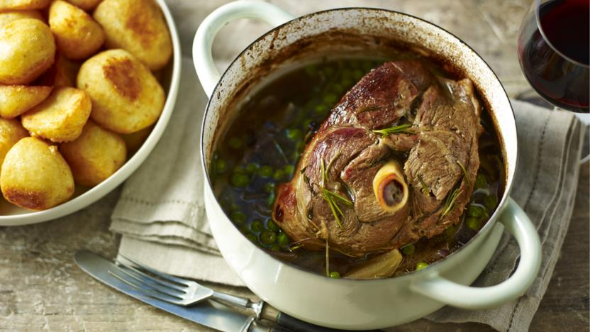 Slow roast leg of lamb with chardonnay, rosemary, sage and bay
