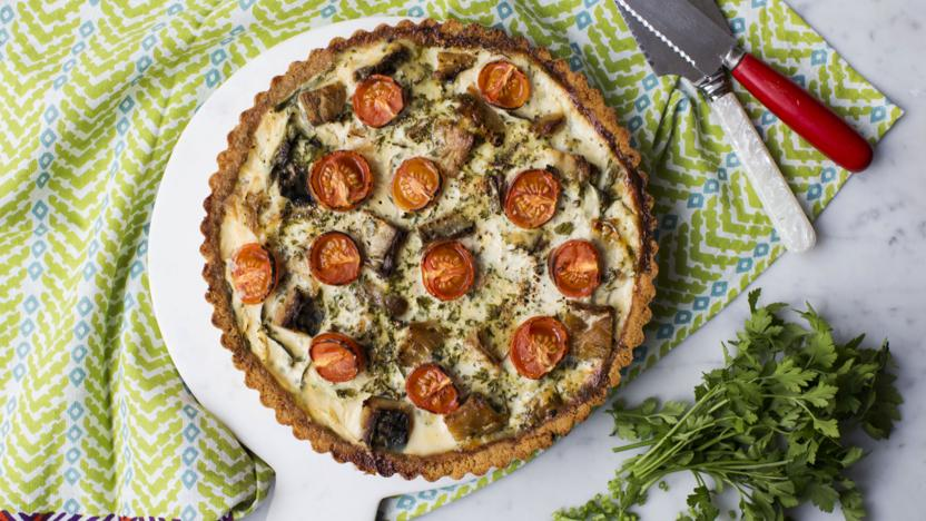 Smoked mackerel, spinach and spring onion tart