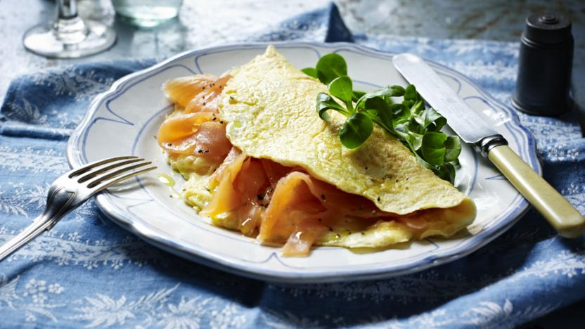 Smoked salmon omelette recipe bbc food smoked salmon omelette forumfinder Images