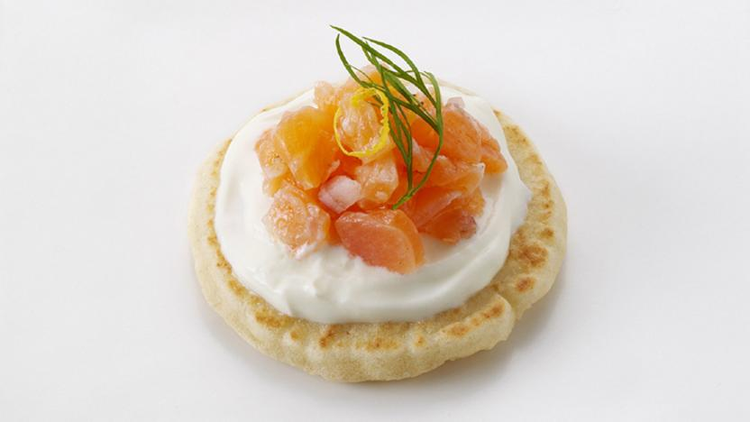 Bbc food recipes smoked salmon blini canap s for Salmon canape ideas