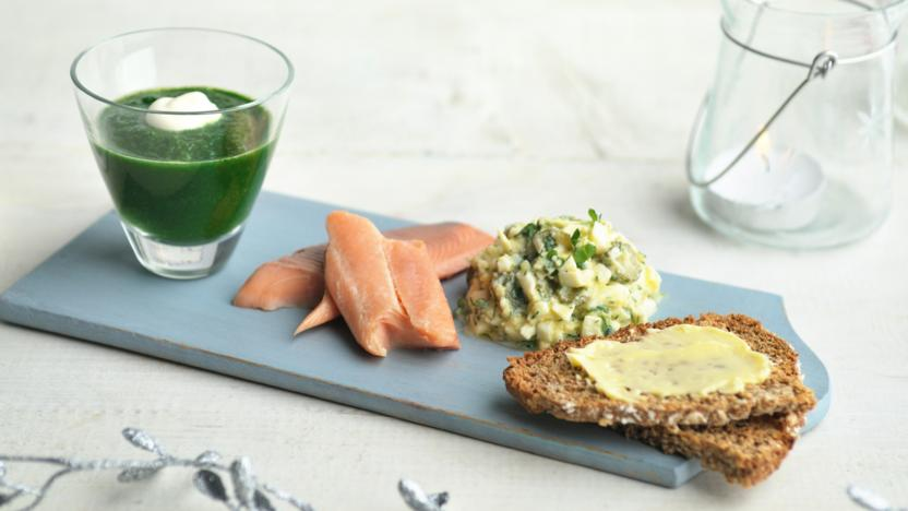 Smoked trout with watercress purée and chopped egg salad