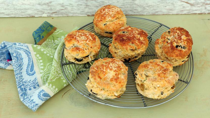 Smoky cheese and olive scones