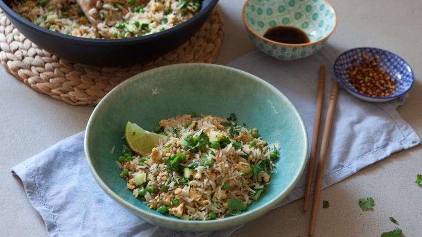 South-East Asian vegetable and egg-fried rice