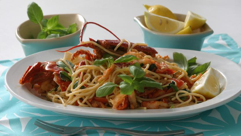 Lobster with spaghetti