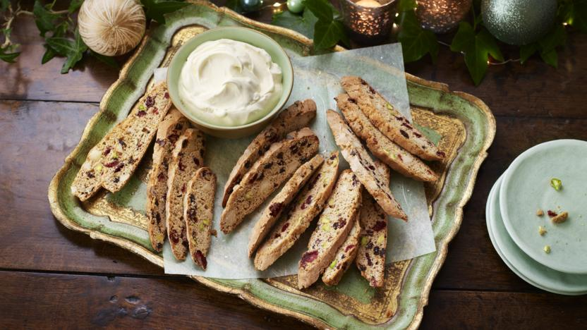 Spiced biscotti with an orange syllabub dip