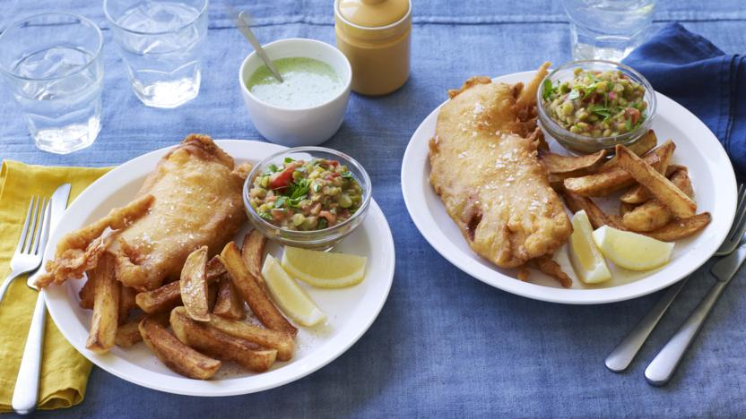 Spiced fish and proper chips with coriander chutney and curried peas