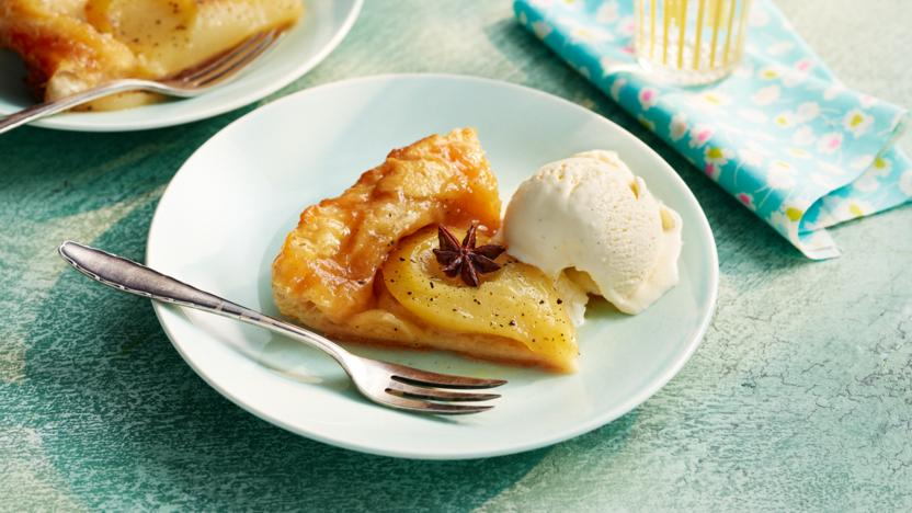 Spiced pear tarte tatin with soured ice cream