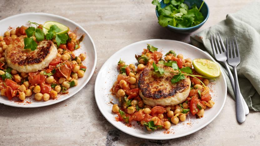 Vegan potato cake with chickpea curry