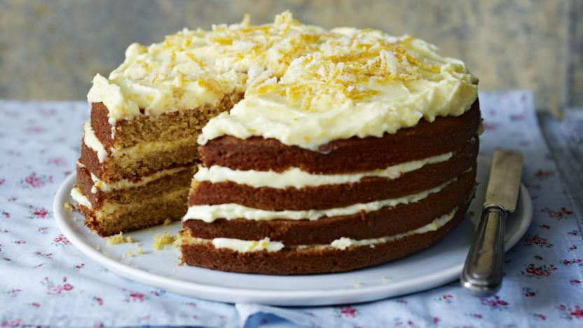 Spiced whole orange cake with orange mascarpone icing