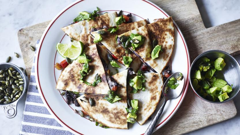Spicy black bean quesadilla