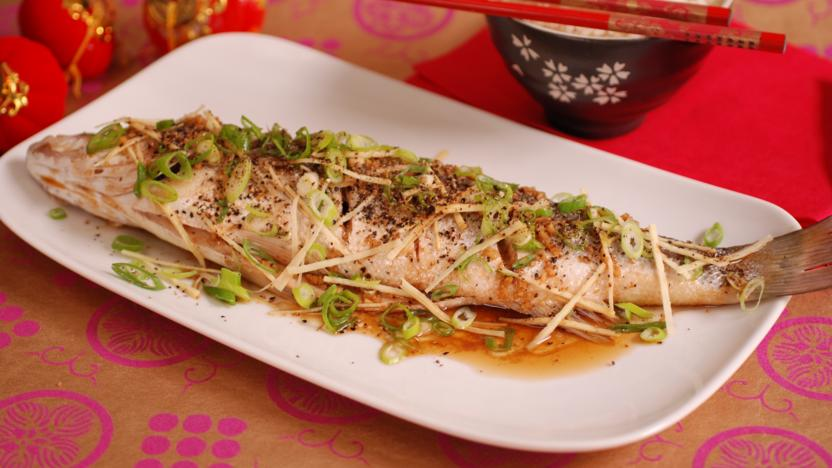Steamed cantonese style fish recipe bbc food steamed cantonese style fish forumfinder Choice Image