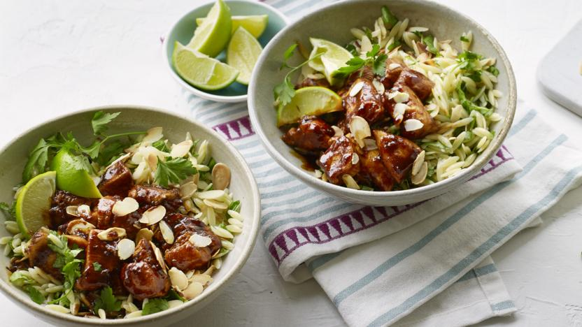 Sticky chicken curry with herby orzo