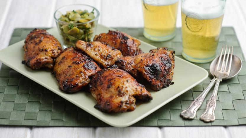 Sticky chicken thighs with lemon and honey recipe bbc food sticky chicken thighs with lemon and honey forumfinder Choice Image
