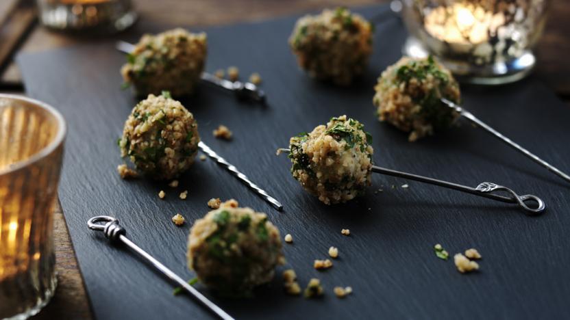 Stilton and toasted walnut balls