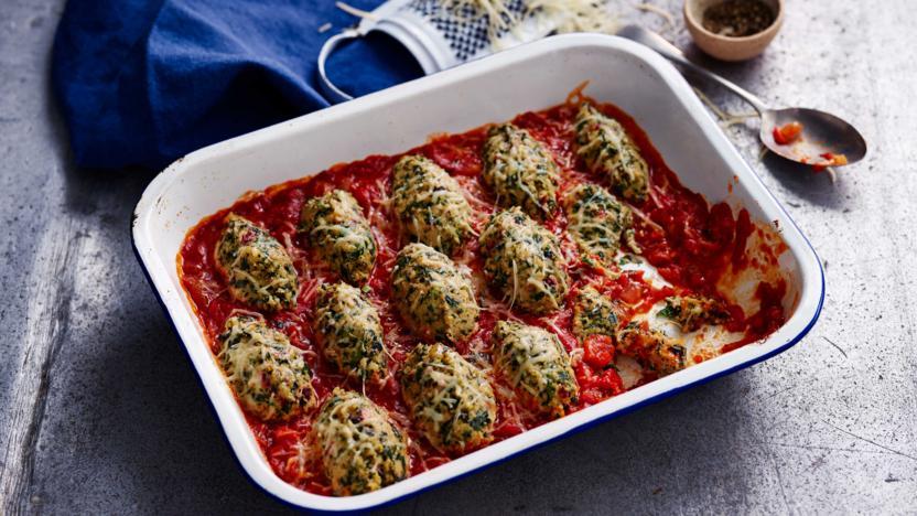 Vegetarian chard and cheese dumplings (strozzapreti)