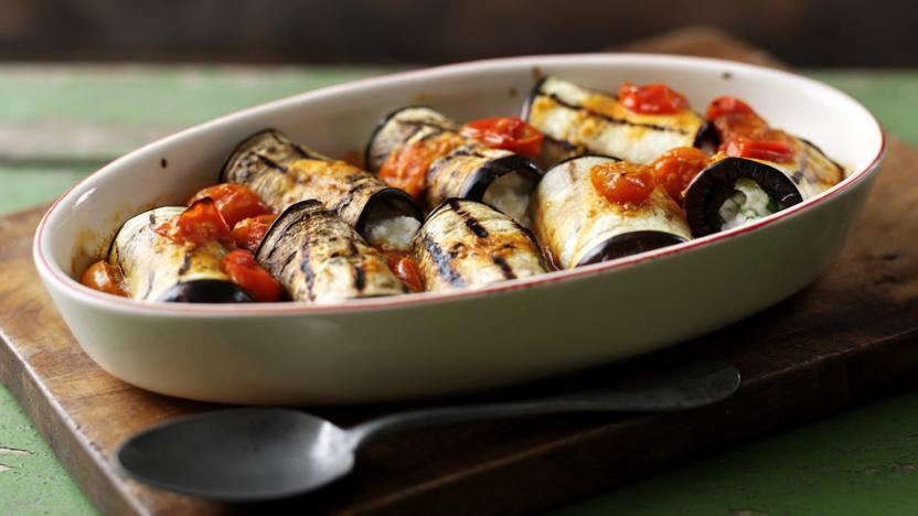 stuffed aubergine rolls recipe