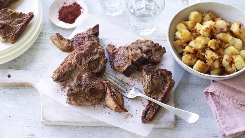 Sumac lamb chops with crushed caramelised onion potatoes