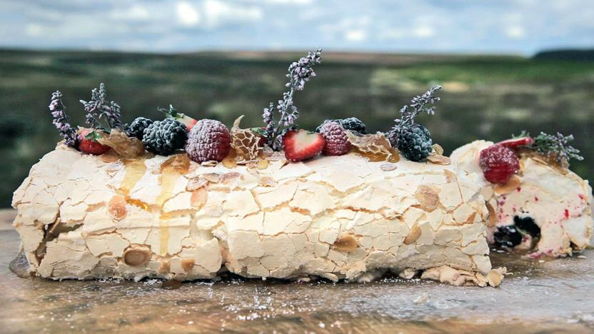 Summer berry and heather honey meringue roulade