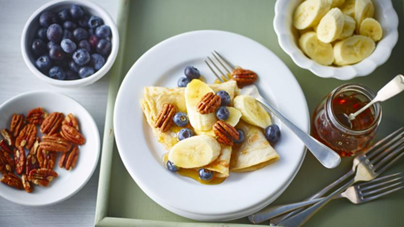 Bbc food recipes sweet banana and maple pancakes with sweet banana and maple pancakes with blueberries and pecans forumfinder Gallery