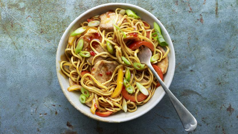 Sweet chilli pork and pepper noodles